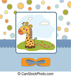 childish greeting card with giraffe