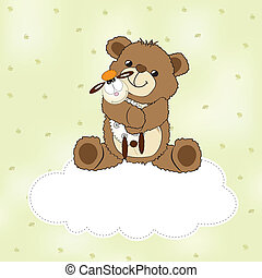 childish greeting card with teddy bear and his toy, vector ...