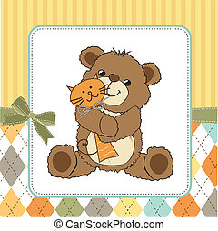 childish greeting card with teddy bear and his toy, vector...