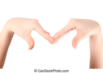 hands represents letter M from alphabet