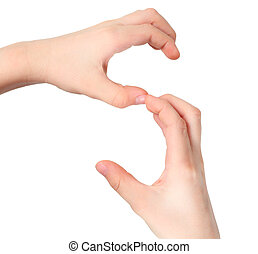 hands represents letter S from alphabet