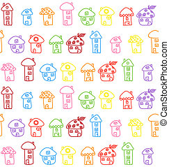 childish., illustration., houses., pattern., seamless, mão, vetorial, desenhado