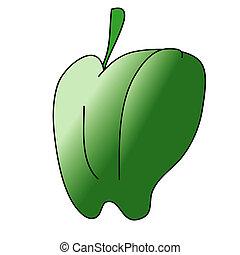Childish Illustration Isolated Green Pepper