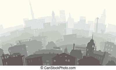 Childish illustration of big city. - Vector abstract...