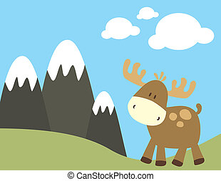 childish moose in nature - childish ilustration of baby deer...