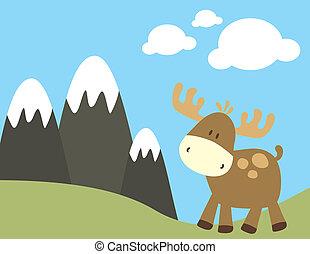 childish moose in nature - childish ilustration of baby...