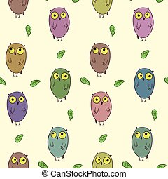 Childish pattern with cute colorful owls