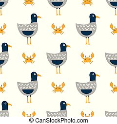 childish pattern with seagulls - funny seagulls in a flat...