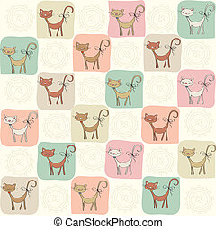 childish seamless pattern with cats