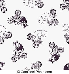 Childish seamless pattern with cute cartoon bears wearing shirt and bow tie riding bicycles on white background. Hand drawn vector illustration in retro style for wallpaper, textile print, backdrop.
