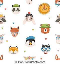 Childish seamless pattern with cute funny faces of adorable animals. Backdrop with happy muzzles on white background. Flat cartoon vector illustration for wrapping paper, textile print, wallpaper.