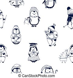 Childish seamless pattern with cute little baby penguins dressed in winter outerwear. Backdrop with funny cartoon polar birds hand drawn with contour lines on white background. Vector illustration.