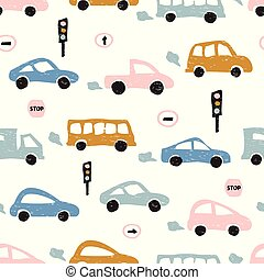 Childish seamless pattern with hand drawn cute car. Scandinavian style. Childish texture for fabric.