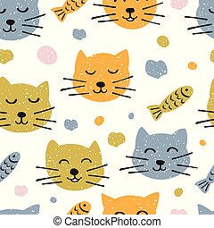 Childish seamless pattern with hand drawn cute cats. Scandinavian style. Childish texture for fabric.