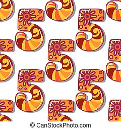 Childish seamless pattern with number five