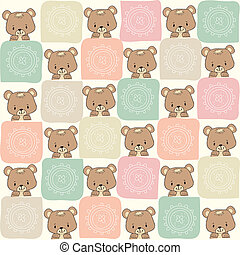 childish seamless pattern with teddy bear
