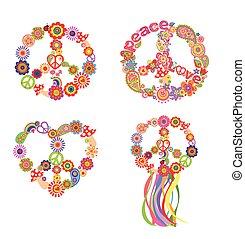 Childish t-shirt prints with peace flower symbol