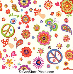 Childish wallpaper with hippie peace symbol, flower-power, poppies, butterfly, mushroom and paisley