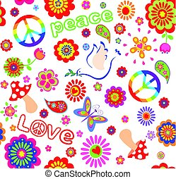 Childish wallpaper with hippie symbolic, mushroom and abstract colorful flowers