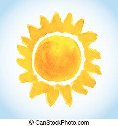 childish watercolor sun on blue sky