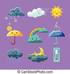 Childish Weather Icon Set