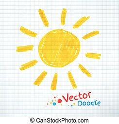 Vector illustration of sun. Felt pen childlike drawing on checkered notebook paper.