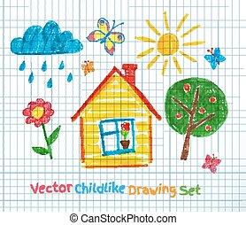 Childlike drawing on school notebook paper. Vector set.
