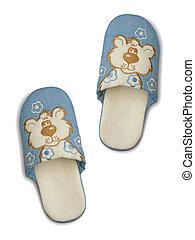 Childlike slippers, one step, isolated on white background