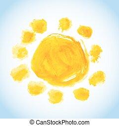 childlike sun watercolor painting