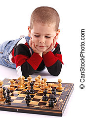 Childre playing chess - Childre playing with chess in white...