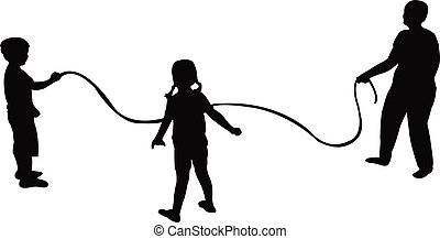 childred jumping rope silhouette vector