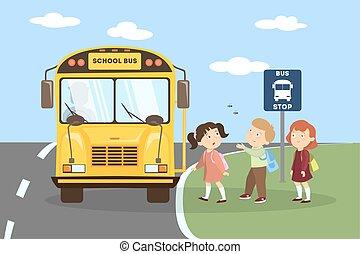 children., バス, 学校
