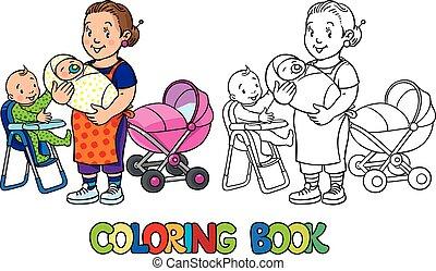 children., 面白い, 着色, 乳母, book.