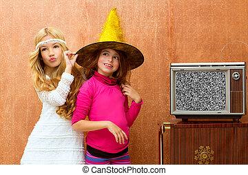 children 70s two kid friend girls in retro party