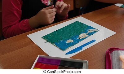 children a lesson work plasticine modeling