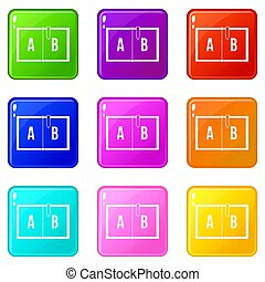 Children abc icons 9 set