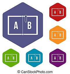 Children abc icons set hexagon