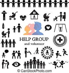 children action welfare stick figure icon
