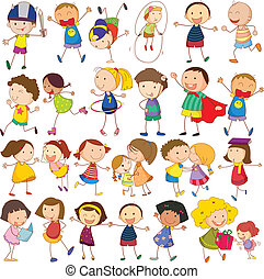 Children actions - Illustration of many children in actions