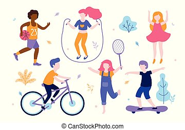 Children activities. Set of kids doing sports, riding the bicycle, playing basketball, jogging, jumping, skating different poses. Sports outdoods vector flat illustration isolated on white background