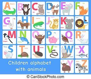 Children Alphabet with Animals. Vector Letters Set