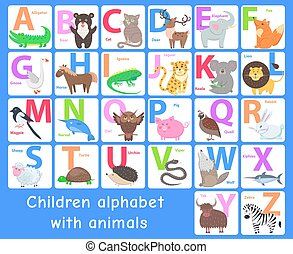 Children Alphabet with Animals. Vector Letters Set