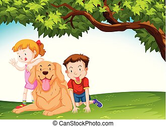 Children and a dog at the park