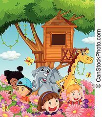 Children and animals in the garden