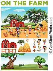 Children and animals on the farm
