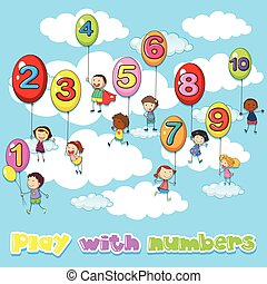 Children and balloons with numbers