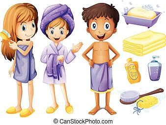 Children and bathroom objects illustration