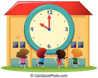 Children and big clock at school
