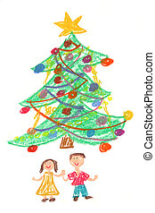 Happy children in front of beautiful colorful Christmas tree. Childs drawing made with pastel crayons