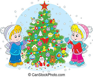Little girl and boy decorating a green fir to the Holiday